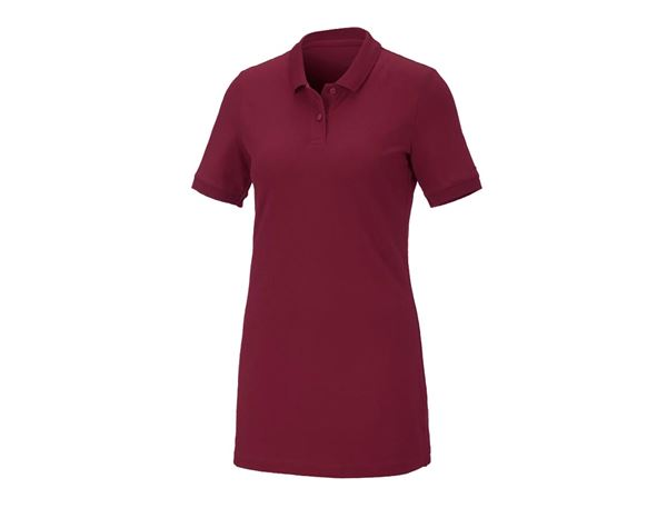 Shirts / Sweats / Blusen: Damen Pique-Polo Ida, long fit + bordeaux