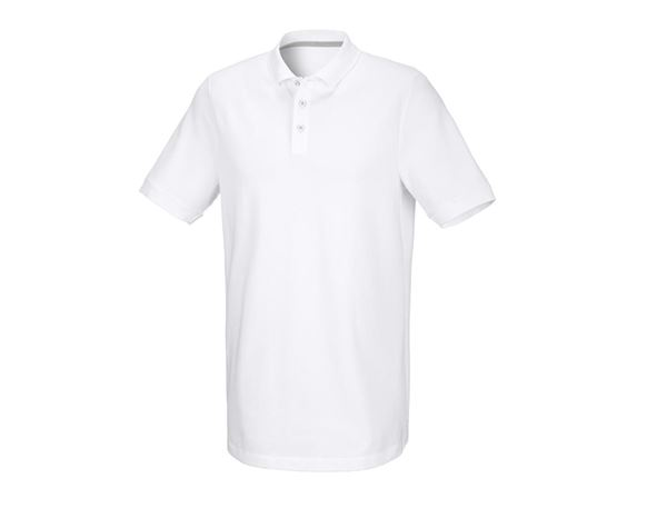 Shirts & Co.: Herren Piqué-Polo Theo, long fit + weiß